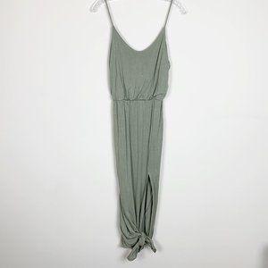 Lulu's | olive green side slit maxi dress medium